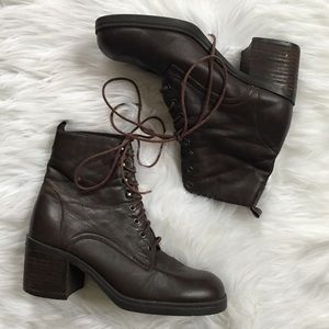 VTG 90's Brown Lace Up Heeled Boots 7.5